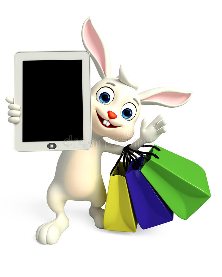 Easter Bunny with tab and shopping bag royalty free illustration