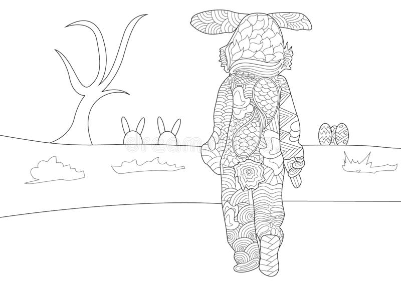 Easter Bunny Walking in Field Scene Pattern Coloring Page royalty free illustration