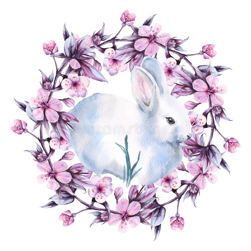 Free Easter Bunny With A Wreath Of Cherries. Isolated On A White Background. Watercolor Illustration. Royalty Free Stock Photos - 81366408