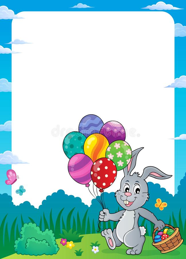 Free Easter Bunny With Balloons Theme Frame 1 Stock Images - 138737024