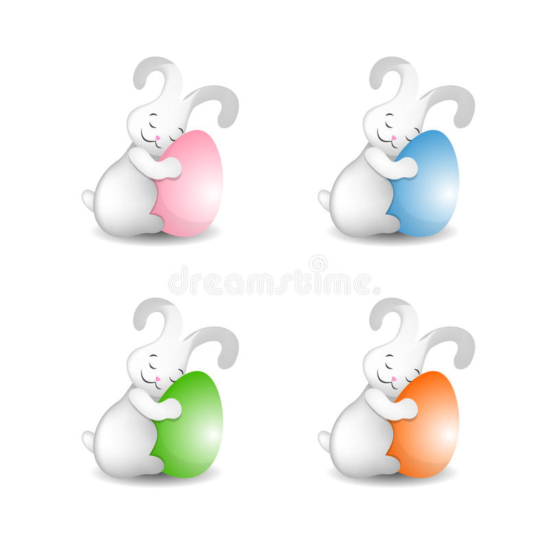 Free Easter Bunny With Easter Eggs Cute Fluffy Set Of 4 Stock Images - 86545924