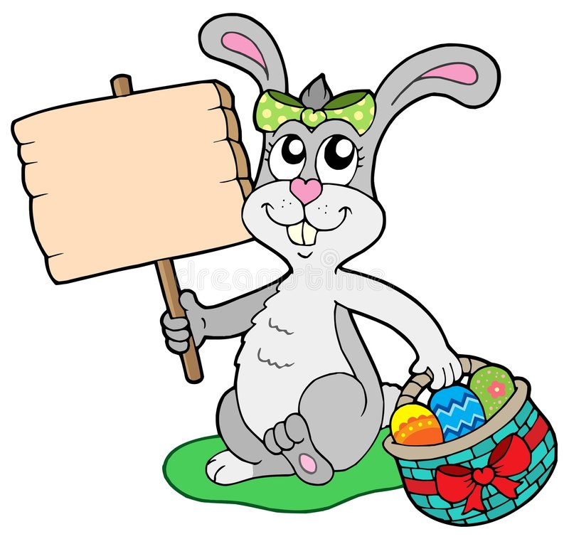 Easter bunny with wooden sign stock illustration