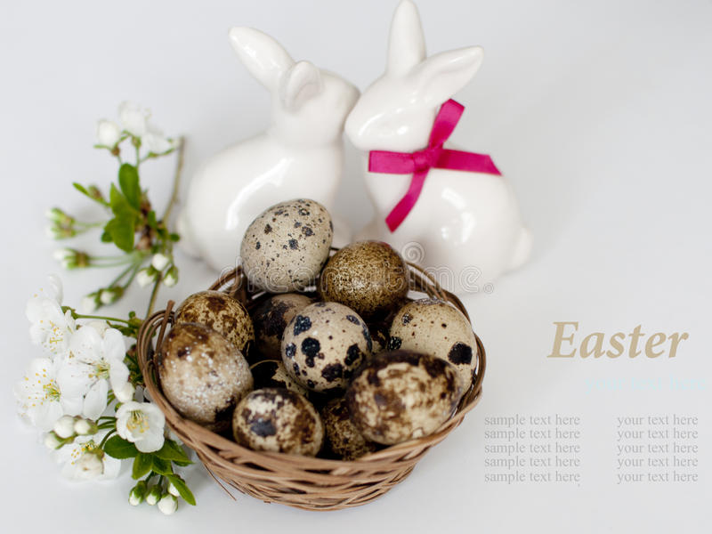 Download Easter Bunnys And Easter Eggs On White Background Stock Photo - Image of basket, easter: 39508912