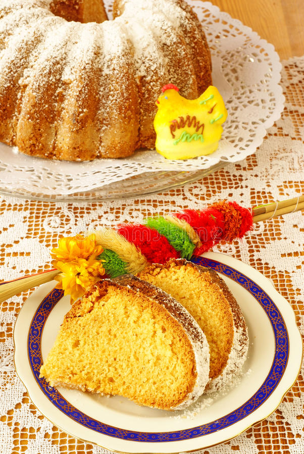 Easter cake (baba). Traditional Easter cake baked in tube pan royalty free stock photo