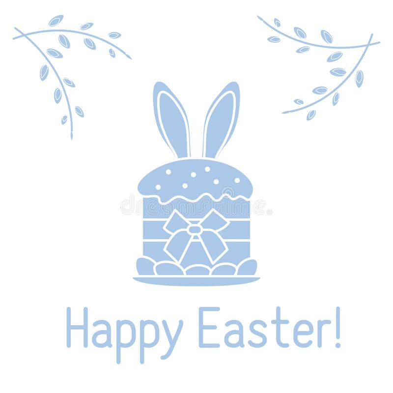 Easter cake, bunny ears, willow branches. Linear. Vector. Vector illustration with Easter cake, bunny ears peeking from him, willow branches. Happy Easter stock illustration