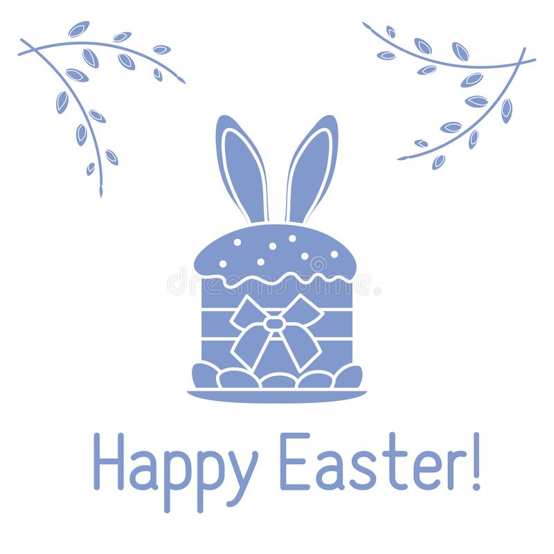 Easter cake, bunny ears, willow branches. Linear. Vector. Vector illustration with Easter cake, bunny ears peeking from him, willow branches. Happy Easter royalty free illustration
