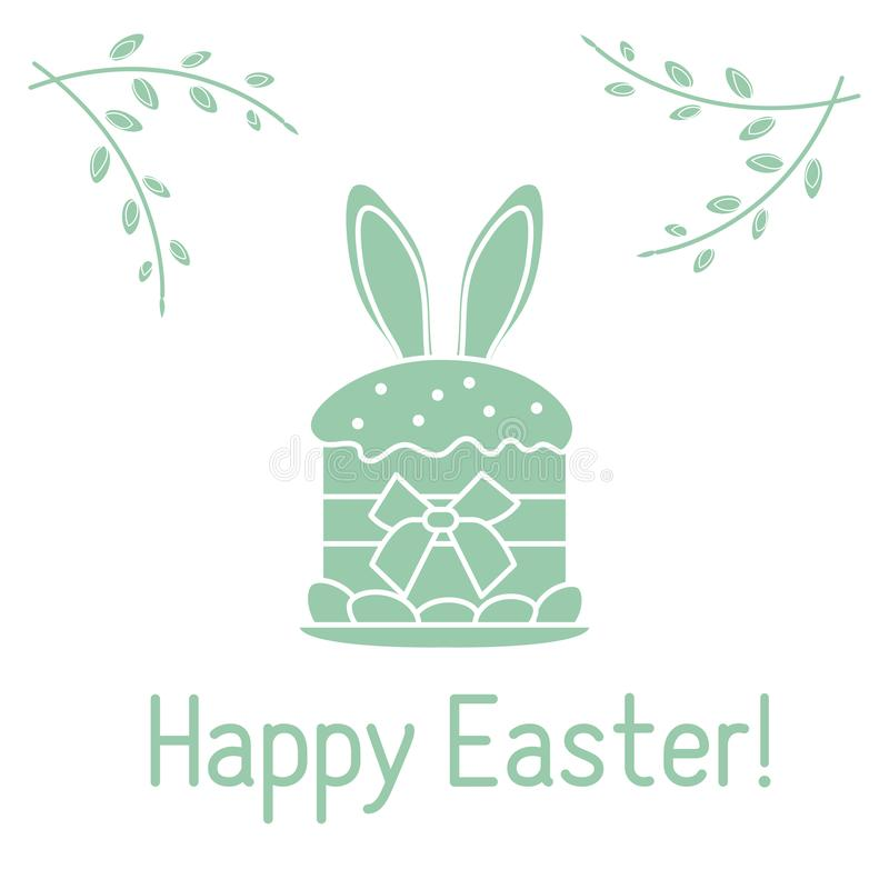 Easter cake, bunny ears, willow branches. Linear. Vector. Vector illustration with Easter cake, bunny ears peeking from him, willow branches. Happy Easter vector illustration