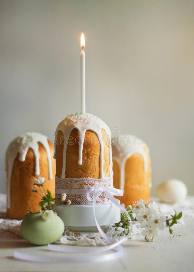 Easter cake and candle for all holiday royalty free stock images