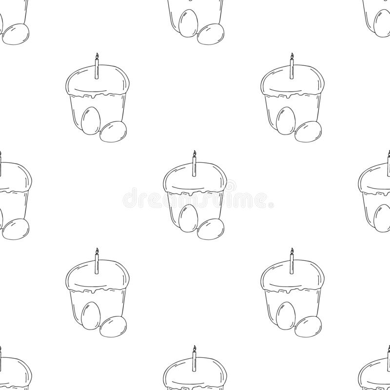 Easter cake with a candle and eggs. Hand drawing with a line. On white background. For the spring holiday Easter, a treat for the royalty free illustration