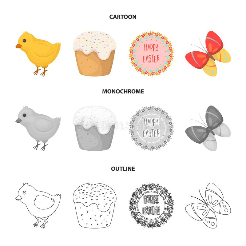 Free Easter Cake, Chicken, Butterfly And Greeting Sign.Easter Set Collection Icons In Cartoon,outline,monochrome Style Vector Royalty Free Stock Photos - 113057338