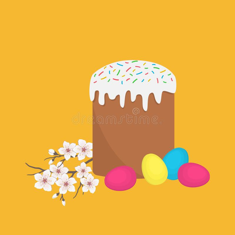 Easter cake, colored eggs and a cherry branch with flowers stock illustration