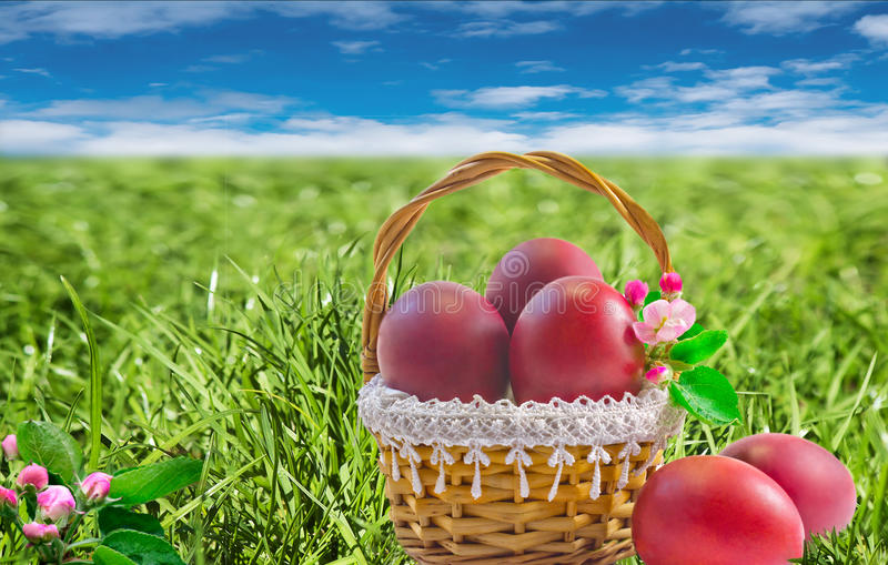 Easter cake and Easter eggs red. royalty free stock photography