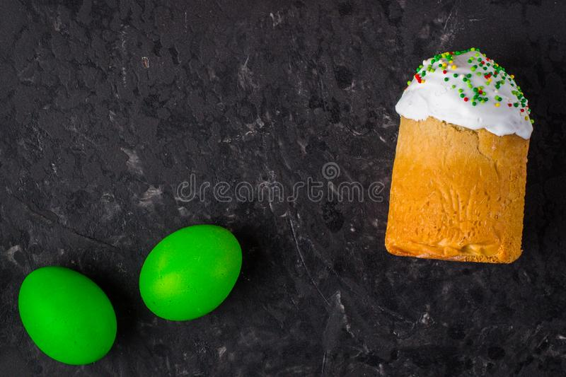Easter cake and Easter eggs, traditional holiday attributes Happy Easter!. food background. top view. Easter cake and Easter eggs, traditional holiday attributes royalty free stock images