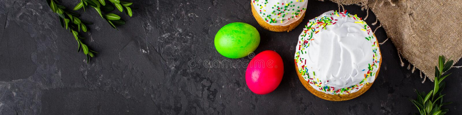Easter cake and Easter eggs, traditional holiday attributes Happy Easter!. food background. top view. Easter cake and Easter eggs, traditional holiday attributes stock images