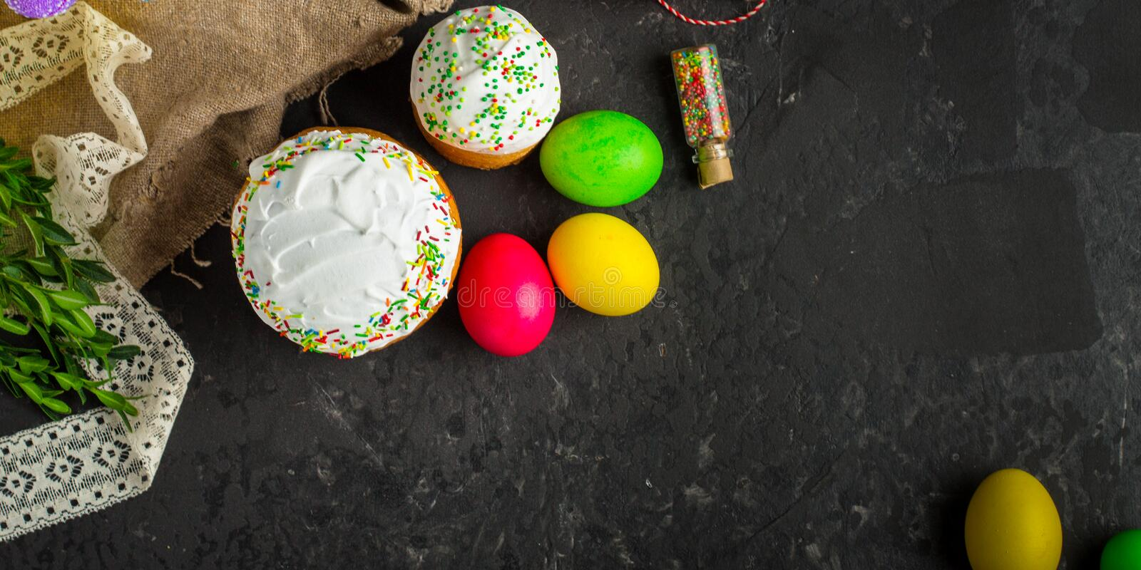 Easter cake and Easter eggs, traditional holiday attributes Happy Easter!. food background. top view. Easter cake and Easter eggs, traditional holiday attributes royalty free stock photos