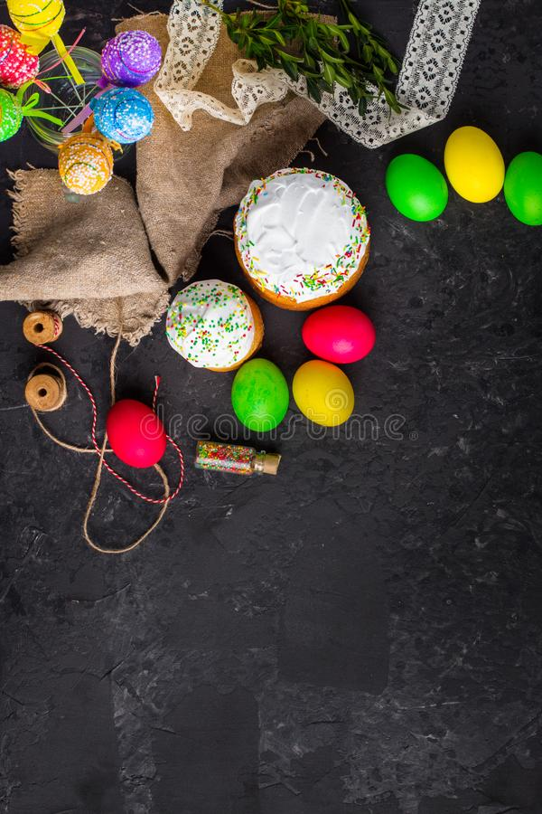Easter cake and Easter eggs, traditional holiday attributes Happy Easter!. food background. top view. Easter cake and Easter eggs, traditional holiday attributes stock photography