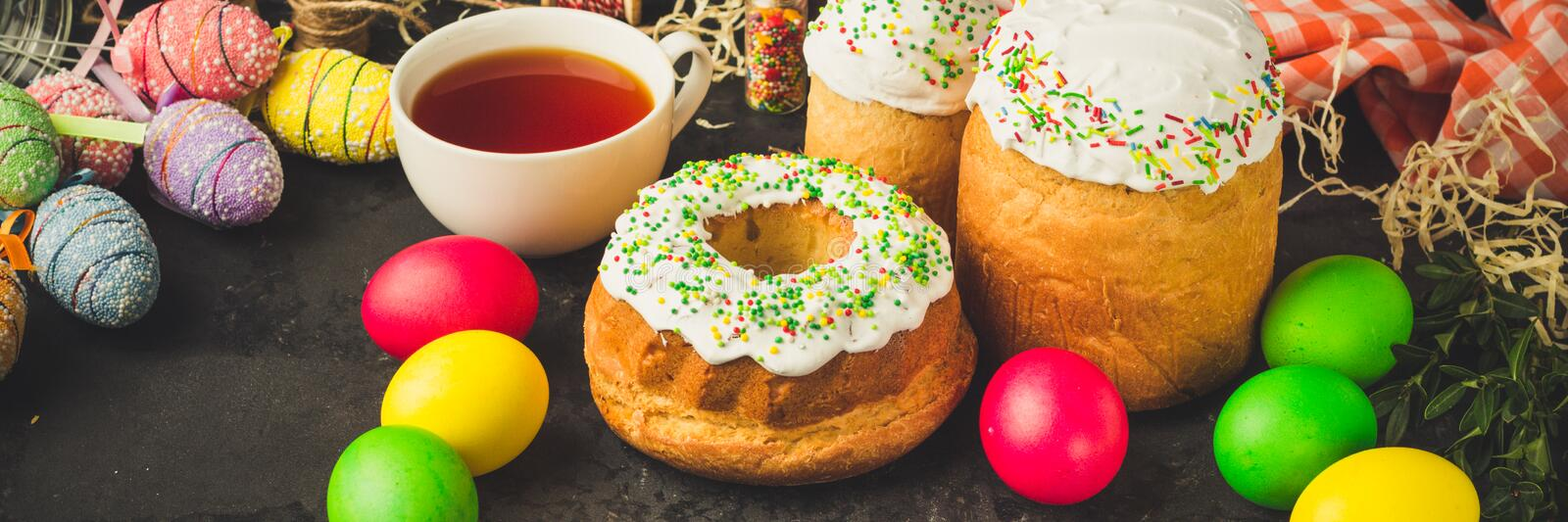 Easter cake and Easter eggs, traditional holiday attributes Happy Easter!. food background. top view. Easter cake and Easter eggs, traditional holiday attributes stock photo