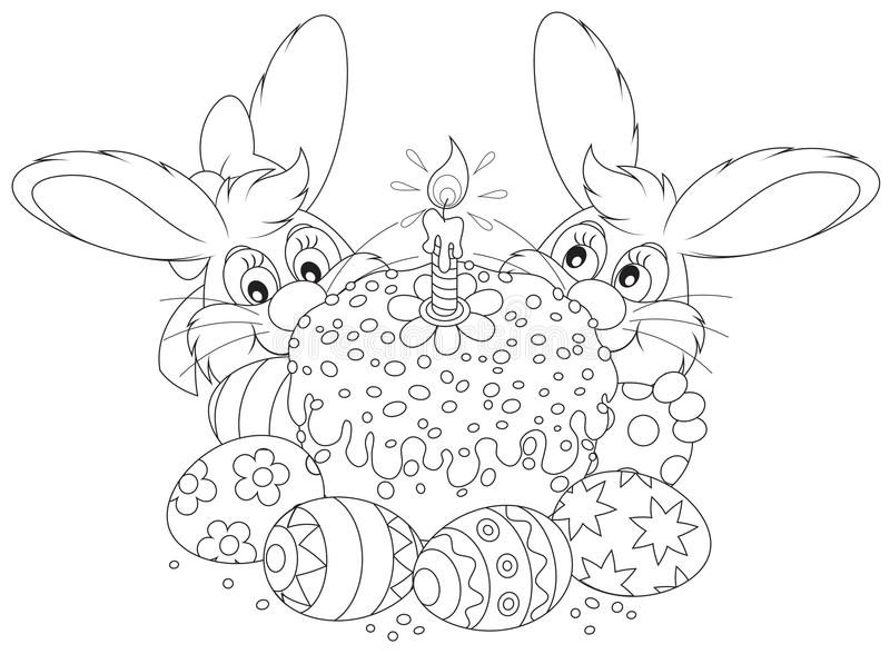Easter cake and eggs vector illustration
