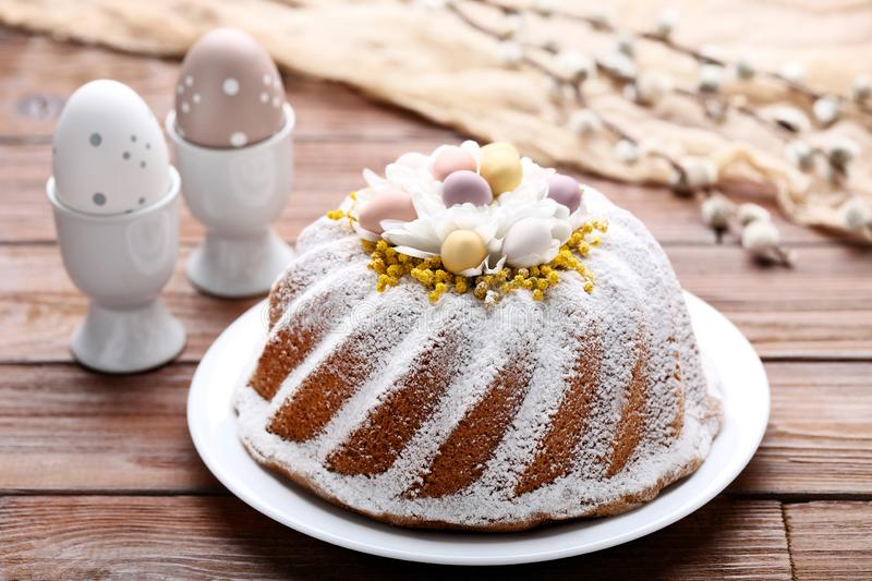 Easter cake with eggs royalty free stock image