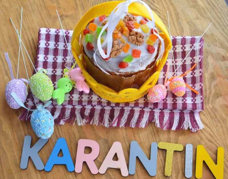Easter cake and eggs, close up. Virus protection. Quarantine for Easter. The concept of the celebration of Holy Easter 2020 during. The coronavirus pandemic royalty free stock images