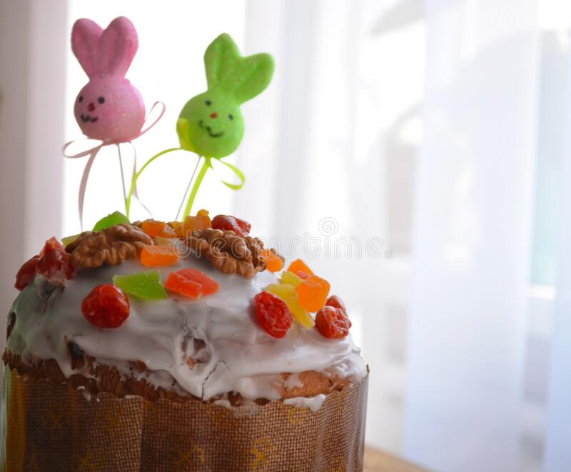 Easter cake and eggs, close up. protection. Quarantine for Easter. The concept of the celebration of Holy Easter 2020 during. The coronavirus pandemic royalty free stock photo
