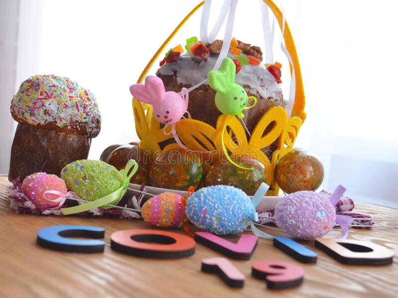 Easter cake and eggs, close up. protection. Quarantine for Easter. The concept of the celebration of Holy Easter 2020 during. The coronavirus pandemic royalty free stock images