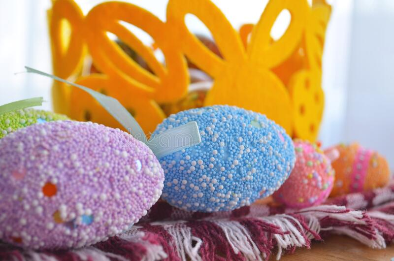 Easter cake and eggs, close up. protection. Quarantine for Easter. The concept of the celebration of Holy Easter 2020 during. The coronavirus pandemic royalty free stock photography