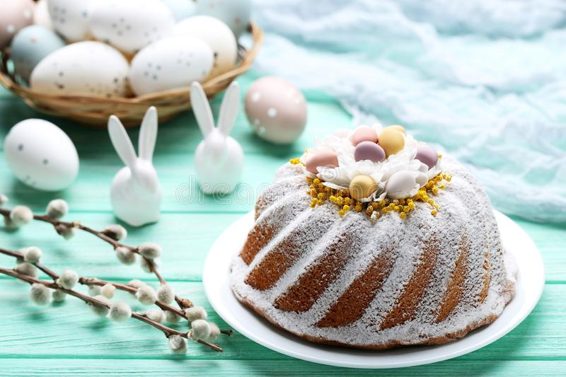 Easter cake with eggs and rabbits stock image