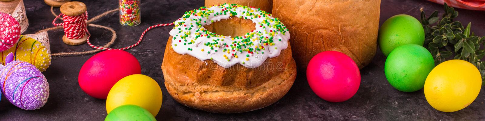 Easter cake and Easter eggs, traditional holiday attributes Happy Easter!. food background. top view. Easter cake and Easter eggs, traditional holiday attributes royalty free stock photography