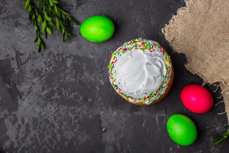 Easter cake and Easter eggs, traditional holiday attributes Happy Easter!. food background. top view. Easter cake and Easter eggs, traditional holiday attributes royalty free stock image