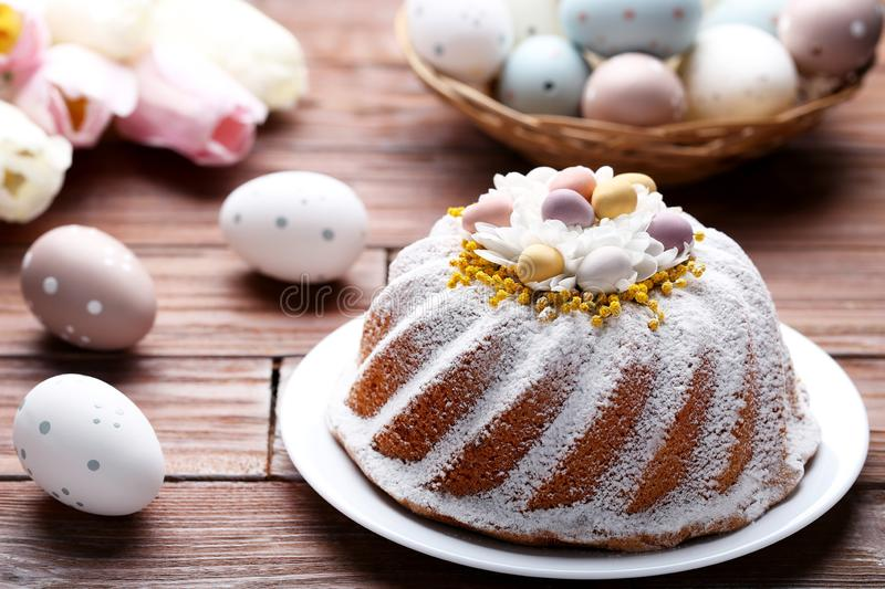 Easter cake with eggs and flowers royalty free stock photography