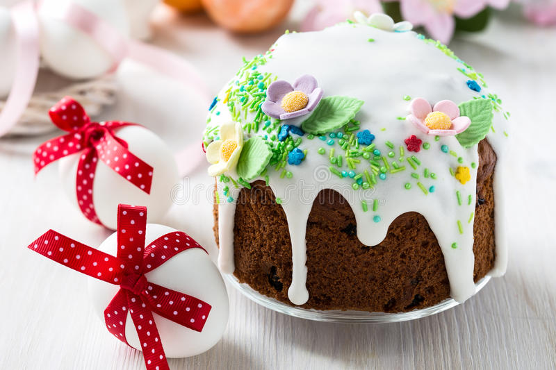 Easter cake with glace icing and decoration stock photo for Glace decoration