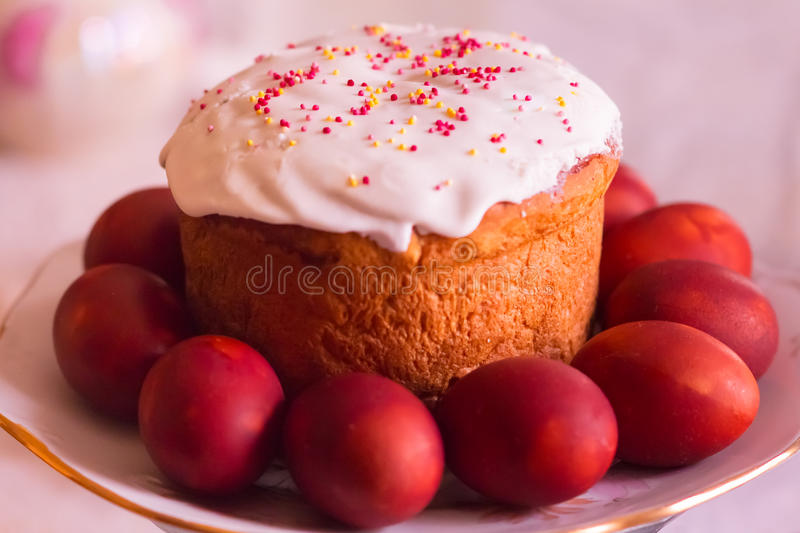 Easter cake and painted eggs. Traditional russain easter dish. Selective focus stock image