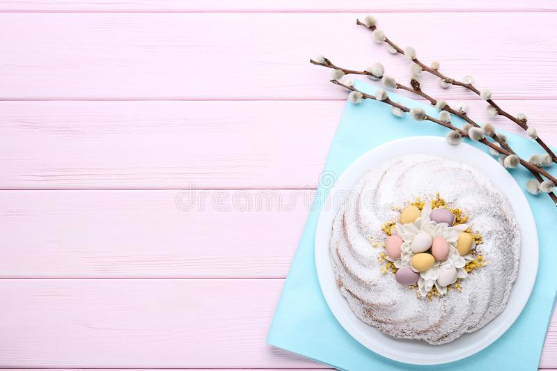Easter cake in plate royalty free stock photography