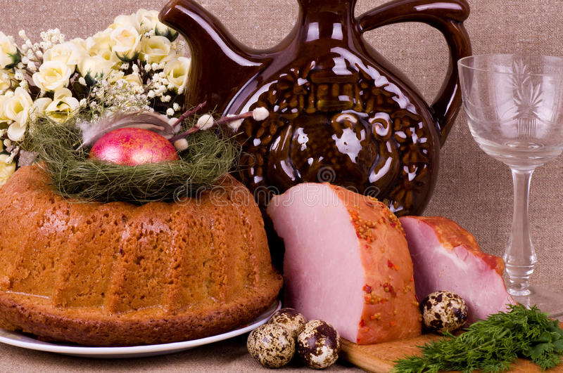 Easter Cake And Pork Loin Dish With Quail Eggs Stock Photography