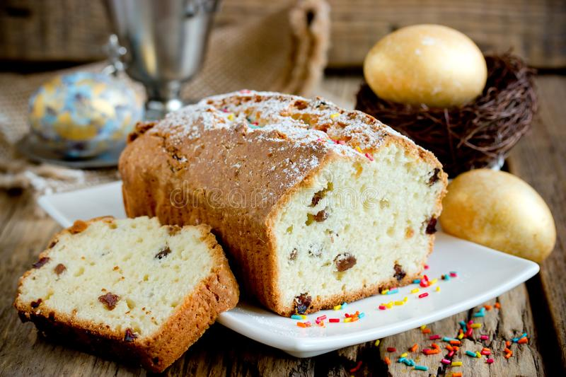 Traditional russian cottage cheese cake shaped rectangular decorated for Easter holidays stock photos