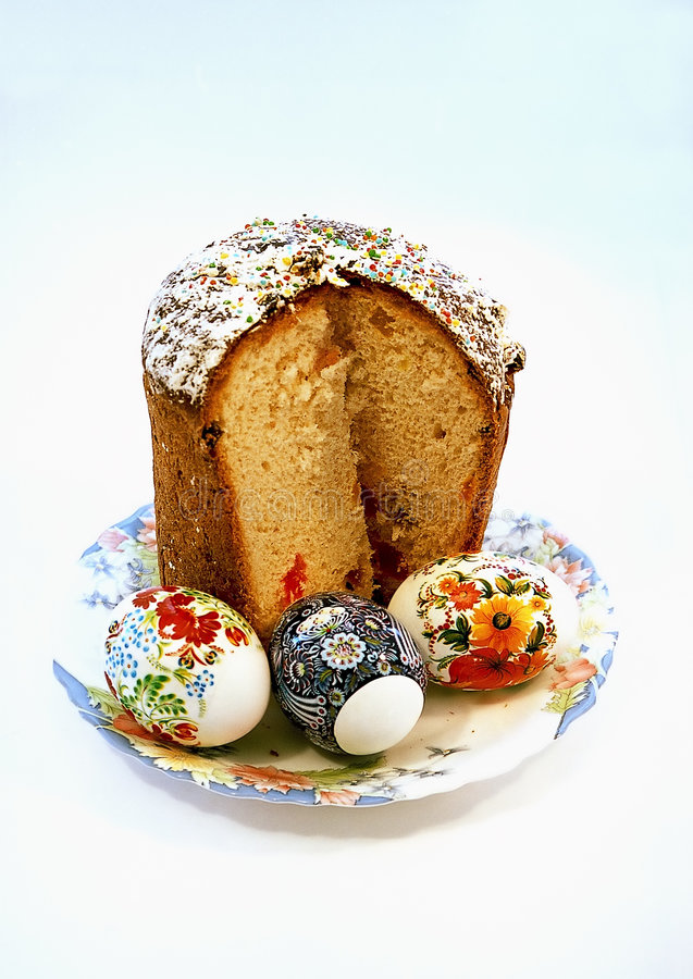 Easter cake with three eggs stock photos
