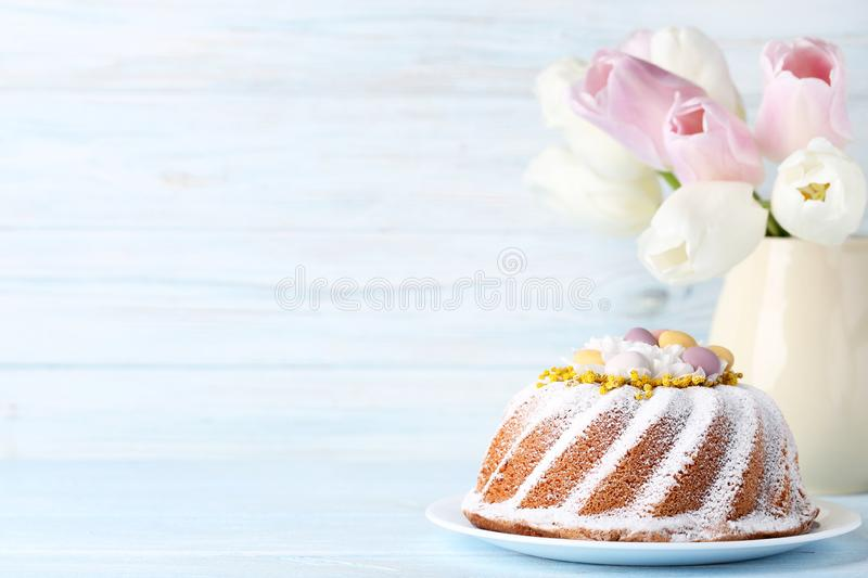 Easter cake with tulip flowers stock photos