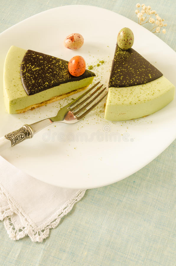 Free Easter Cake With Tea Matcha Decorated Chocolate Ganache And Sweet-stuff Eggs Royalty Free Stock Photography - 49804587