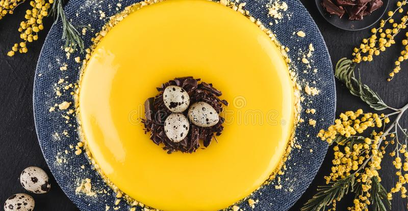 Easter cake with yellow mirror glaze, chocolate, spring flowers, quail eggs on dark stone background. Happy Easter celebration stock image