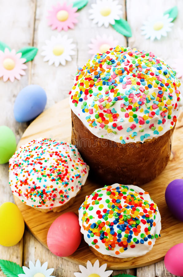 Easter cakes with colorful topping stock photo
