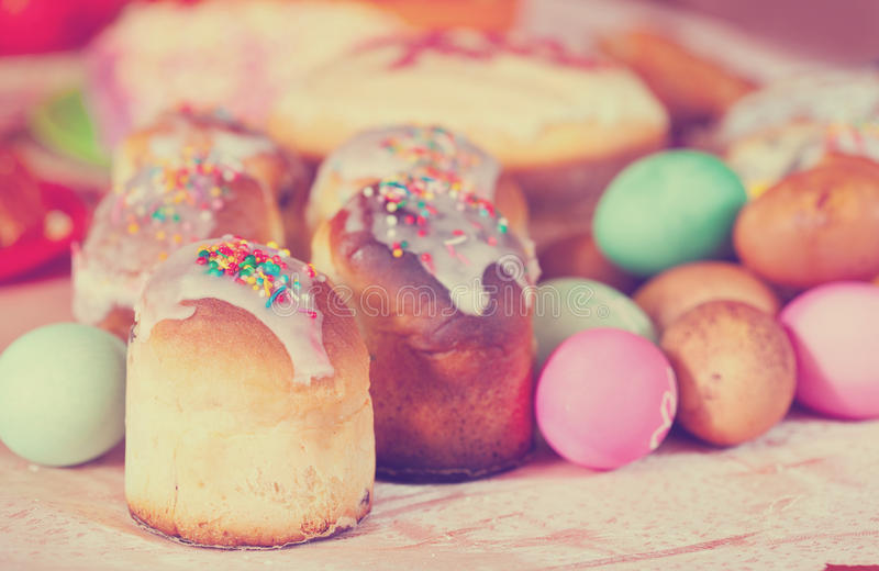 Easter cakes and eggs. On festive table royalty free stock image