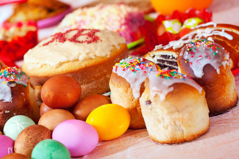 Easter cakes and eggs. On festive table royalty free stock photos