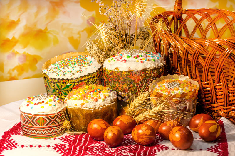 Easter cakes and painted eggs on a family holiday. Kulich Easter holiday Easter eggs stock photo