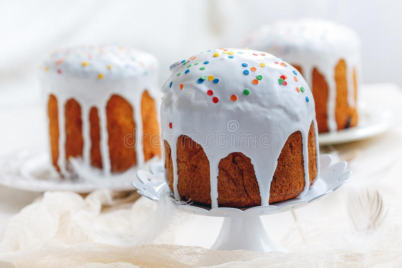 Easter cakes in white glaze. stock photo
