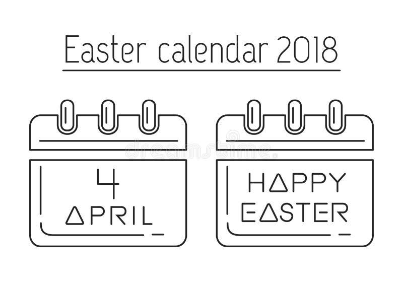 Easter calendar. Catholic Easter 2018 stock illustration
