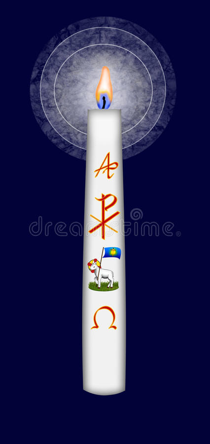 Easter candle with Christ monogram and alpha and omega symbol. And the lamb of God stock illustration