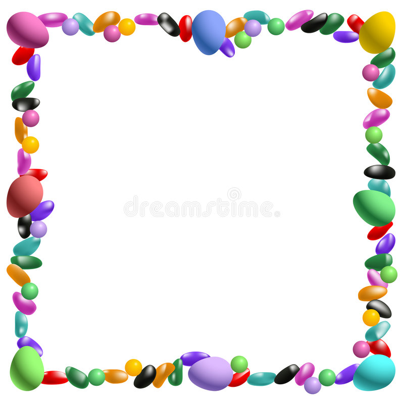 Easter candy border. Vector Easter candy border with jelly beans and more