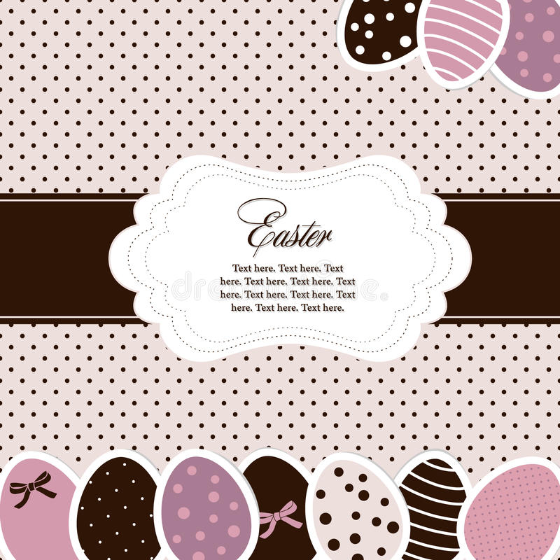 Easter card. On polka dot background stock illustration