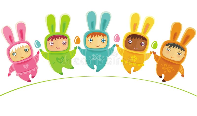 Easter card with Baby bunnies. Easter greeting card with cute little babies dressed as an Easter Bunnies, with Easter eggs vector illustration
